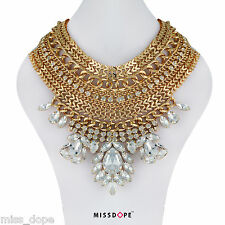 NEW Statement Gold Layered Necklace Womens Crystal Bib Aztec Indian Tribal UK