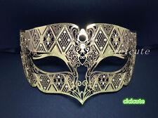 Gold Metall Männlich Diamant Venezianische Filigranen Partie Maske Männer Strass