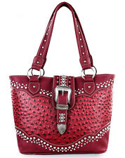 Montana West® Concealed Carry, Ostrich Embossed Rhinestone Western Tote - Red