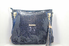 Ladies HandBag Glossy Patent Catwalk Style Tote Purse Shoulder Navy Blue Leather