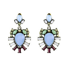 BEAUTIFUL ZARA BLUE GREEN WHITE BURGUNDY STONES DROP DANGLE EARRINGS NEW