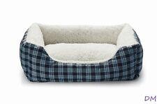 """Austin Blue Plaid Dog Pet Bed 21""""x16"""" Machine Washable"""
