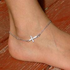 Danity w Swarovski Crystal ~Sideways Cross~ Celebrity Religious Chain Anklet New