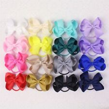 "Wholesale 16pc 3"" Girl baby Solid Grosgrain Ribbon Hair Bows elastic E008-1-20-Y"