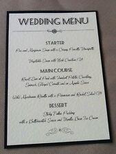 10 x Handmade Personalised Wedding Vintage Table Menu Cards