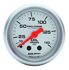 "Auto Meter Ultra-Lite Mechanical Oil Pressure Gauge 2-1/16"" (52mm) 0-150 psi"