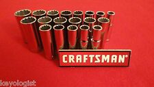 "CRAFTSMAN Socket Set 3/8"" drive SAE and Metric 12pt Deep  19pcs  NEW"