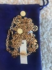 TORY BURCH LOGO CHARM ROSARY GOLD PLATED NECKLACE NWT + POUCH