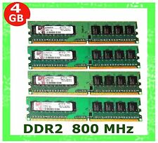 4GB (4X 1GB) DDR2 PC2-6400 KINGSTON 800Mhz Desktop Computer Memory LOW DENSITY