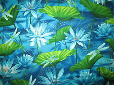Dragonfly Dragon Fly Water Lilly Metallic Gold Blue Green Cotton Fabric FQ