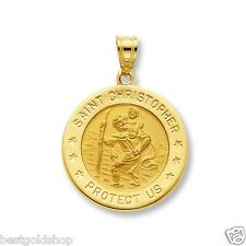 3D 15mm Saint Christopher Medal Charm Pendant Solid Real 14K Yellow Gold 1.2gr