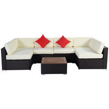 7PCS Outdoor Patio Furniture Wicker Rattan Sofa Set Poly Wood Table Brown New