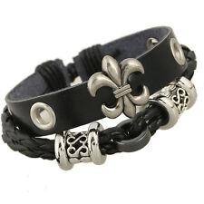 Black Leather adjustable bracelet with antique Silver Fleur Di Lis charm