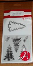 CLEAR ACRYLIC HAMPTON ART STAMPS & DIE SET ~ Christmas trees wks CTMH blks