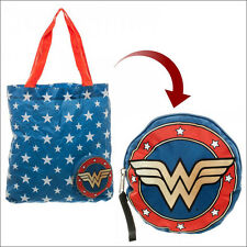 Wonder Woman DC Comics Packable Shopping Tote Bag with Case LICENSED OFFICIAL