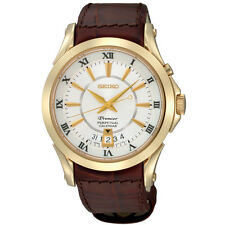 New Seiko SNQ118 Premier Gold Tone Stainless Brown Leather Strap Men's Watch