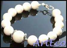 ArtEco - White Coral - 925 Sterling Silver Bracelet with white real coral beads