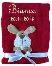 Babydecke rot Hund mit Namen bestickt Baby Decke Taufe Geburt Geschenk Name
