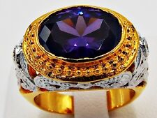 AMETHYST MEN DRESS RING SIZE 8 18K YELLOW WHITE GOLD FILLED SOLITAIRE CARVED GEM