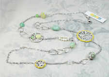 BOHM Long Necklace FLORAL FOLKLORE Silver/Green Swarovski Semi-Precious BNWT