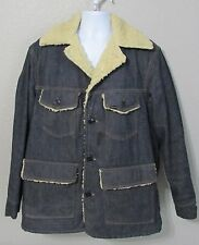 Vintage Mens Sears Roebuck Sherpa Trucker Denim Jean Jacket Button Up Size 44-R