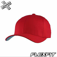 "ORIGINAL FLEXFIT RED BASEBALL CAP L/XL 7 1/8""~7 3/8"" UNIVERSAL FIT YUPOONG PLAIN"