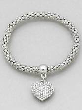 Designer Inspired Silver Tone Hollow Bubble Chain Pave Heart Stretch Bracelet