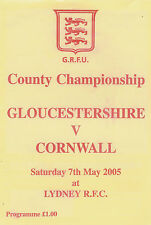 Gloucestershire v Cornwall 7 May 2005 RUGBY PROGRAMME