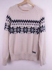 M296 SUPERDRY JUMPER SWEATER ORIGINAL PREMIUM WOOL VINTAGE NORDIC KNIT size L