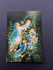 Vintage Unused Xmas Greeting Card Precious Angels Playing Music for Baby Jesus