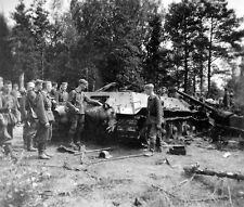 "German Soldiers with knocked out Russian Tank 8""x 10"" World War II WW2 Photo 15p"