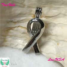 Pearl Cage Pendant - Awareness Ribbon Fun Gift!! Silver Plated