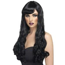 Womens Girls Black Desire Wig Long Wavy Halloween Katy Perry Colour Hair Witch