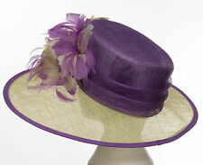 Jacques Vert Purple & Green Feather Flower Formal Hat Event Wedding Races NEW