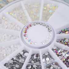DIY Nail Art Tips Charm Gems Crystal Glitter Rhinestones 3D Decor Wheel HOT