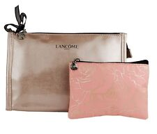 Lancome Beige & Peach Floral Cosmetic Makeup Bag Case set of 2