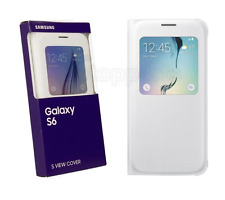 Genuine Samsung Galaxy S6 Leather Effect S View Window Flip Case Cover White New