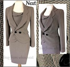 40 Next Size 12 Tweed Dress Blazer Suit Vintage Jacket Brown Dogtooth 40s 50s