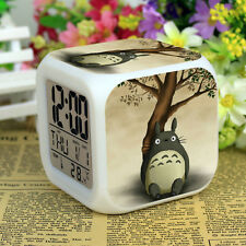 Anime My Neighbor Totoro LED Digital Alarm Clock 7 Colors Change Calendar+Time