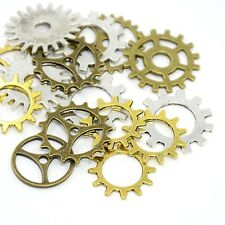 40g Metal Alloy Steampunk Gear Cog Charms Mixed Colour Pendants (BOX116)
