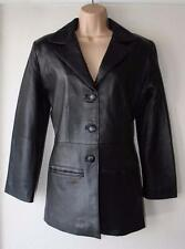 Black Soft Leather ATLANTIQUE CUIR Biker Fitted Blazer Coat Jacket Chest Sz 37""