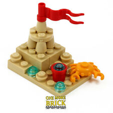 LEGO Beach Sandcastle - with Bucket, Flag & Lego Crab!