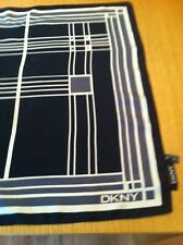 DKNY 100% Silk Black/Cream Square Scarf In Excellent Condition