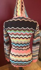 MISSONI FOR TARGET LONG KNIT CHEVRON ZIP FRONT HOODED CARDIGAN SWEATER Sz M