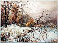 Verschneiter Wald im Abendrot 1940 Gouache Paul Groß 1873-1942 Neue Sachlichkeit