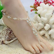 2 PCS Handmade Pearl Beads Barefoot Beach Sandals Wedding Anklet Toe Jewelry