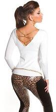 Sexy Shirt Pulli Pullover Ketten Rückenfrei Kette Weiß 34 36 38 S M