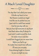 A Much Loved Daughter Memorial Graveside Poem Card & Free Ground Stake F102