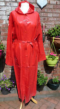 lipstick red lightweight long pvc vinyl hooded raincoat 46 chest womans sexy med