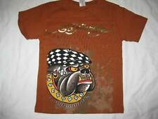 ED HARDY boys kids 6 7 bulldog dog with cap hat burnt orange t-shirt tee top NEW